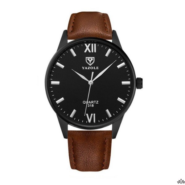 Zegarek męski yazole czarny, czarna tarcza brązowy pasek ZM92WZ2