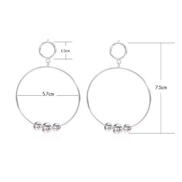 Kolczyki wiszące koła srebrne K1069
