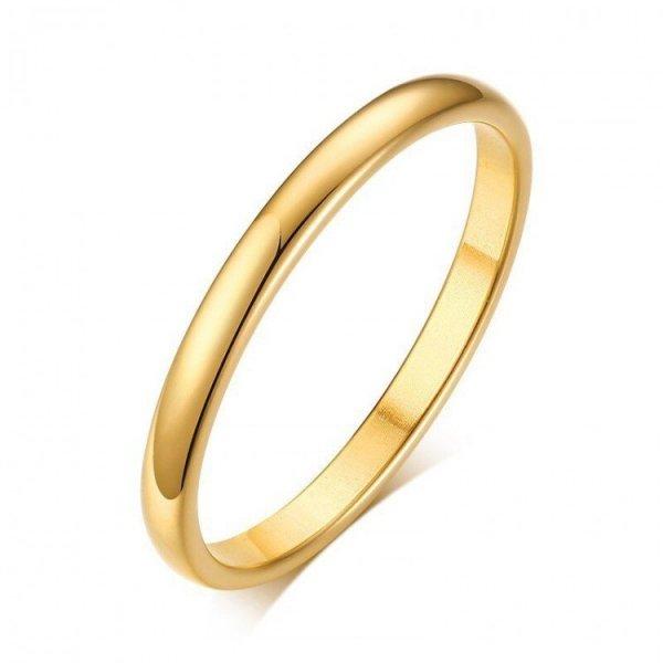 Pierścionek stal chirurgiczna platerowana złotem PST525, Rozmiar pierścionków: US5 EU8