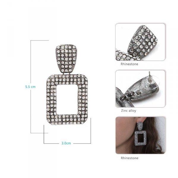 Kolczyki wiszące crystal grafit K1227