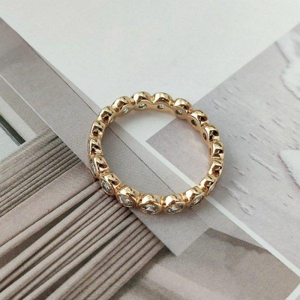 Pierścionek stal chirurgiczna platerowana złotem 558, Rozmiar pierścionków: US8 EU17