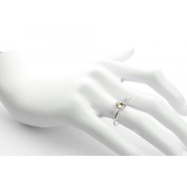 PIERŚCIONEK KRYSZTAŁEK SWAROVSKI STAL PLATEROWANA BIAŁYM ZŁOTEM PST452, Rozmiar pierścionków: US7 EU14