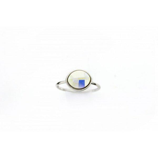 PIERŚCIONEK KRYSZTAŁEK SWAROVSKI STAL PLATEROWANA BIAŁYM ZŁOTEM PST456, Rozmiar pierścionków: US9 EU20