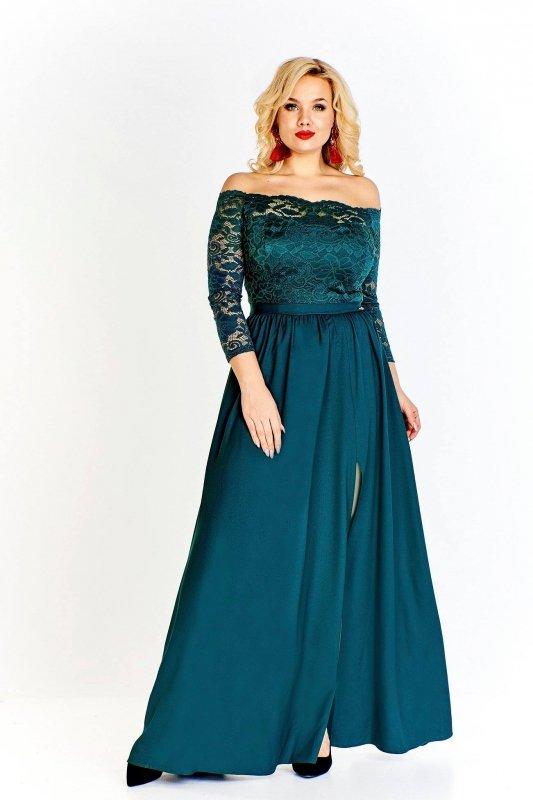 sukienka maxi z koronkową górą odsłaniającą ramiona i luźno puszczonym dołem z rozporkiem