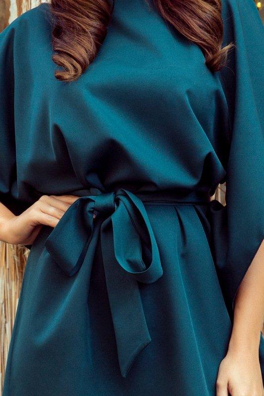 sukienka o kroju nietoperza z wiązaniem w pasie