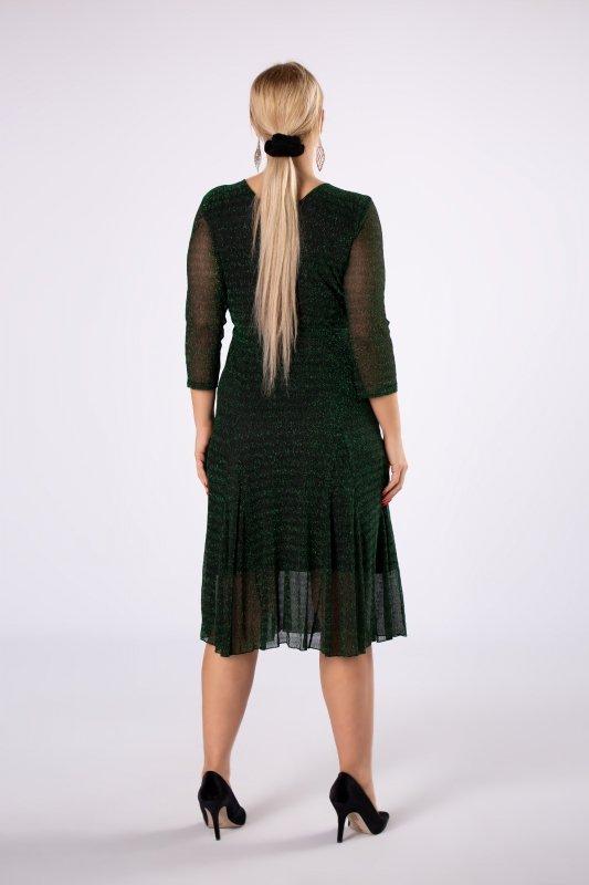 brokatowa sukienka z kopertowym dekoltem i rozkloszowanym dołem