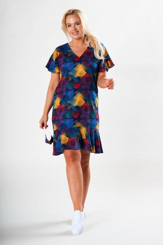 wzorzysta sukienka mini z falbankami i maseczką