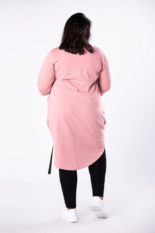 dresowa tunika z asymetrycznym dołem z szelkami, brokatowym nadrukiem na biuście i wydłużonym tyłem