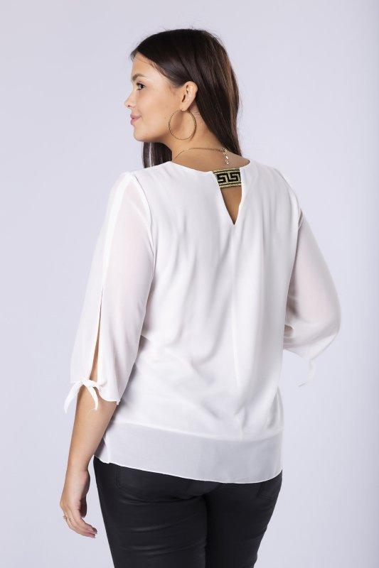 bluzka z rozcięciami na rękawach i ozdobnym ściągaczem na plecach