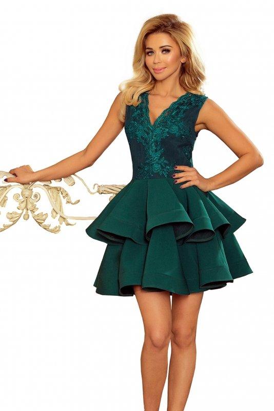 sukienka koktajlowa z koronkowym gorsetem