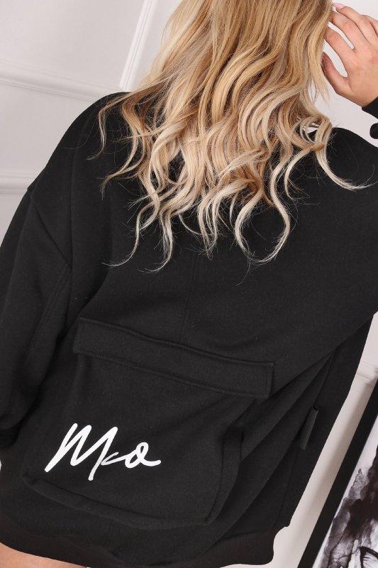 oversize'owa bluza bomberka z ozdobną kieszenią na plecach