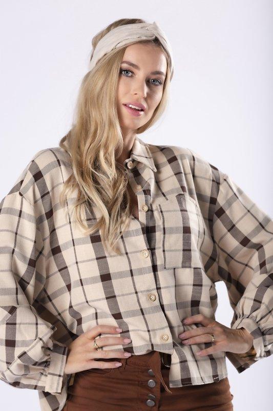 oversize'owa koszula w kratę z kieszenią na biuście