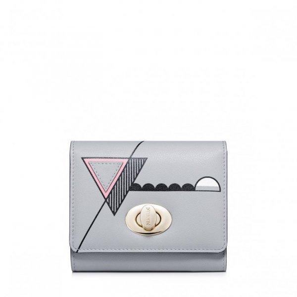 NUCELLE Krótki portfel z geometrycznym wzorem Szary