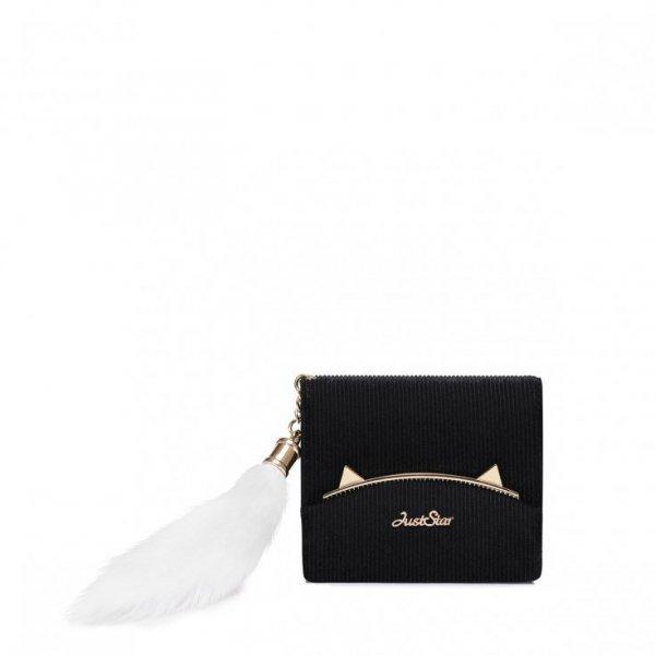 Sztruksowy portfel z pomponem czarny