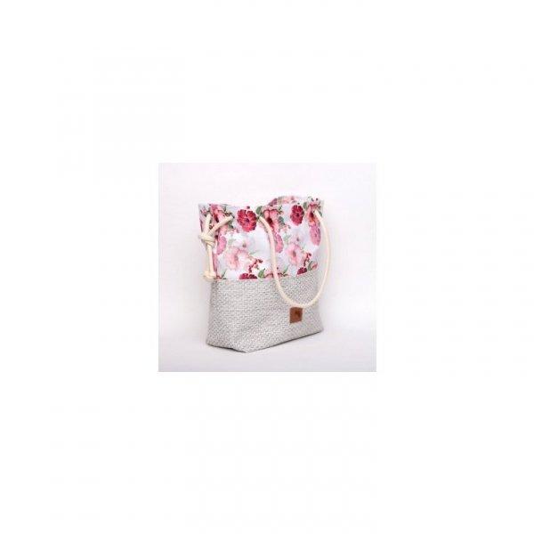 Torebka worek w piękny kwiatowy wzór, rączki ze sznurka