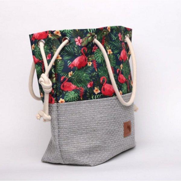 Torebka worek w kwiaty, flamingi, liście i monstery - rączki ze sznurka.