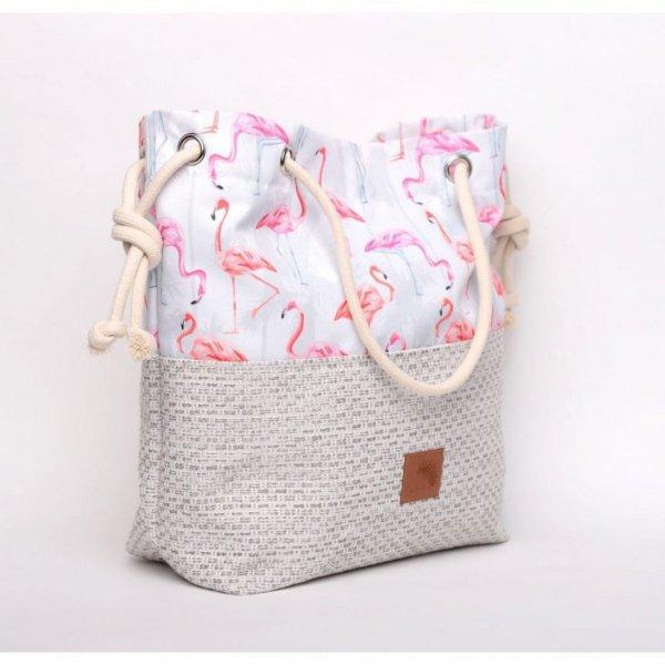 Torebka w kształcie worka we flamingi rączki ze sznurka