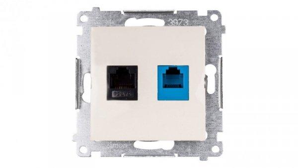 Simon 54 Gniazdo teleinformatyczne RJ45 kat.5e + RJ12 kremowe D5T.01/41