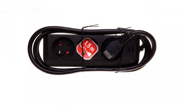 Listwa zasilająca Eco-Line 1,5m 3 gniazda czarna H05VV-F 3G1,5 1157504