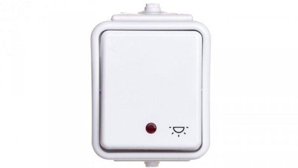 Cedar Przycisk hermetyczny IP44 światło z podświetleniem 10A  biały  IP44 WNt-102CS WNT102CS01