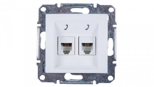 Sedna Gniazdo telefoniczne podwójne RJ11 białe SDN4201121