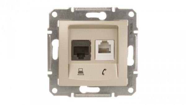 Sedna Gniazdo teleinformatyczne RJ11 RJ45 kat.5e UTP satynowe SDN5100168