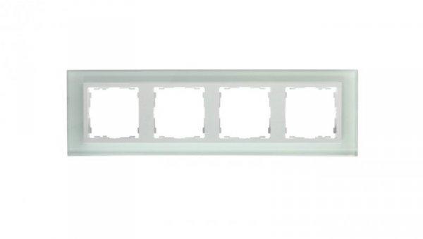 Simon 82 Ramka poczwórna pozioma szklana natural/ ramka pośrednia biała 82647-60