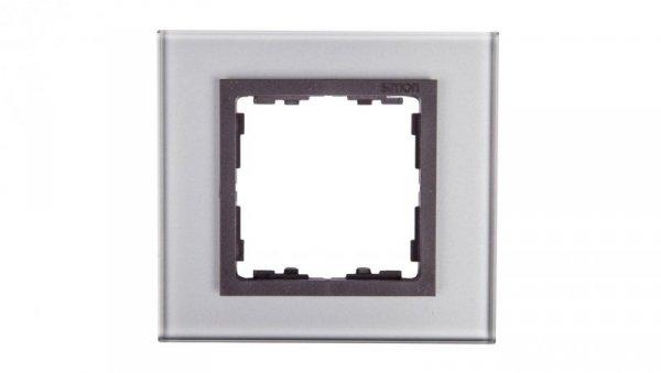 Simon 82 Ramka pojedyncza szklana szara/ ramka pośrednia grafit 82817-35