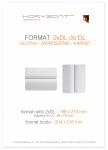 ulotka 2xDL składana do DL, druk pełnokolorowy obustronny 4+4, na papierze kredowym, 130 g, 2500 sztuk