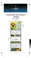 Kalendarz trójdzielny spiralowany VIP LINE z wypukłą główką, bez koperty - druk jednostronny kolorowy (4+0) Karton Alaska 250 g, Folia błysk jednostronnie, 310 x 830 mm, Spiralowany, 3 bloki kalendarium, 290 x 145 mm, okienko - 200 szt.