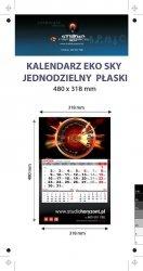 Kalendarz jednodzielny Eko Sky, płaski, druk jednostronny kolorowy (4+0), Folia błysk jednostronnie, Podkład - Karton 300 g, okienko czerwone - 700 sztuk
