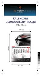 kalendarz jednodzielny Orange Mini, Karton Alaska 250g, Folia błysk jednostronnie, całość 310 x 458 mm, druk pełnokolorowy 4+0, główka płaska, 1 blok kalendarium 3-miesięczne, 290 x 190 mm, okienko - 500 sztuk