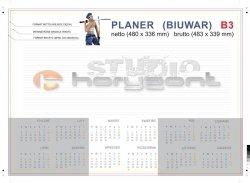 planer na biurko B3 - 26 kart, druk jednostronny pełnokolorowy 4+0, offset 90g, klejony - 1000 sztuk