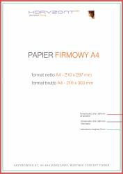 papier firmowy A4, druk pełnokolorowy obustronny 4+4, na papierze offset / preprint 90 g - 2000 sztuk
