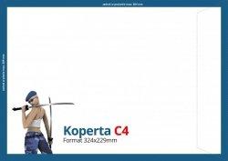Koperty C4 (324 x 229 mm), Druk jednostronny kolorowy 4+0, Offset 80 g - 150 szt.