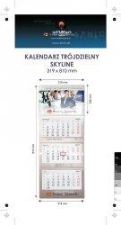 Kalendarz trójdzielny SKYLINE, z wypukłą główką, bez koperty, druk jednostronny kolorowy (4+0), główka kaszerowana + folia błysk, podkład z lakierem dyspersyjnym, główka - kreda mat 300 g, podkład - karton 300 g, 3 bloki kalendarium, okienko - 250 szt.