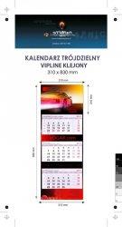 Kalendarz trójdzielny VIP LINE klejony - główka - karton Alaska 250 g, foliowana błysk, całość 310 x 830 mm, druk pełnokolorowy, 3 oddzielne kalendaria 290 x 145 mm, okienko - 300 sztuk
