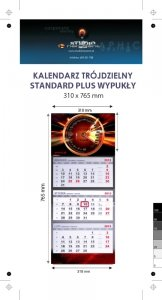 Kalendarz trójdzielny wypukły STANDARD PLUS -  Karton Alaska 250g, Folia błysk jednostronnie - całość 310 x 765 mm, całość 4+0, z doklejką reklamową pod kalendarium, 3 bloki - 10 sztuk ! Cena promocyjna