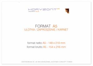 zaproszenie A5 - 148 x 210 mm, druk dwustronny, kreda 350 g, bez folii 500 sztuk