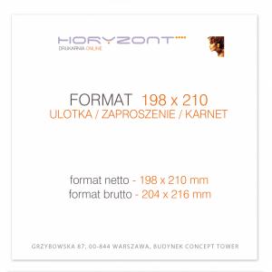 ulotka 198 x 210 mm, druk pełnokolorowy obustronny 4+4, na papierze kredowym, 250 g, 10000 sztuk