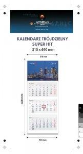 Kalendarz trójdzielny SUPER HIT - całość na Kartonie Alaska 250 g, 310 x 690 mm, Druk jednostronny kolorowy 4+0 CMYK, 3 oddzielne kalendaria, 290 x 145 mm, czerwono - czarne, okienko osobno - 300 sztuk