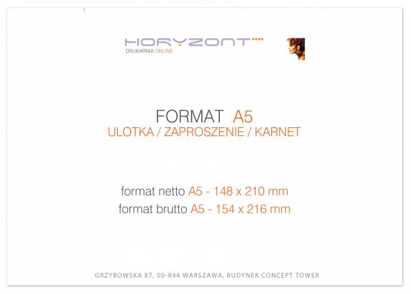 ulotka A5, druk pełnokolorowy obustronny 4+4, na papierze kredowym, 130 g, 1000 sztuk