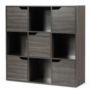 Regał z półkami i szafkami 9 przegródek