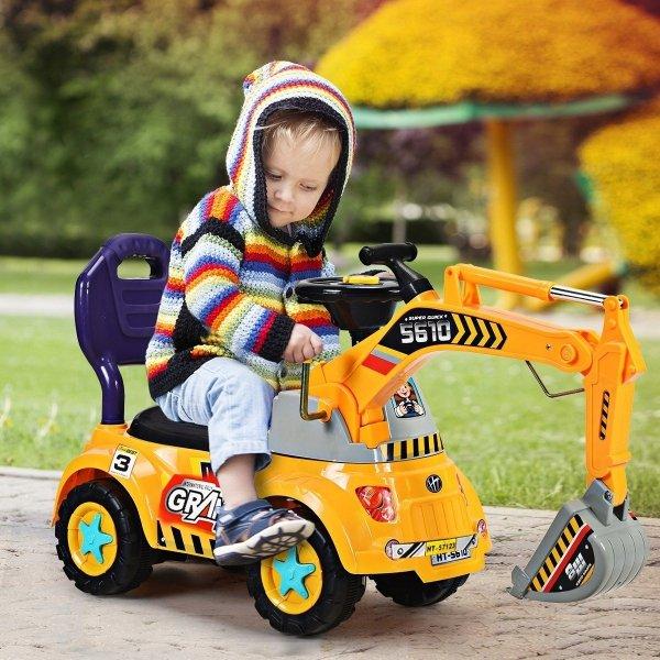 Koparka jeździk dla dzieci z kaskiem i zabawkami
