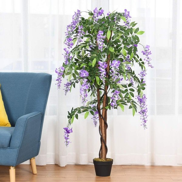 Sztuczna roślina drzewo z kwiatami wisteria 150cm