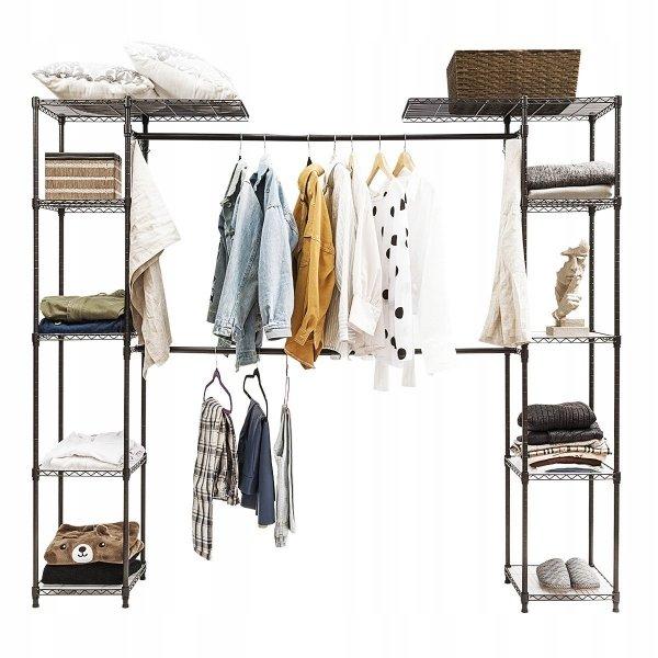Wieszak metalowy garderoba na ubrania z półkami