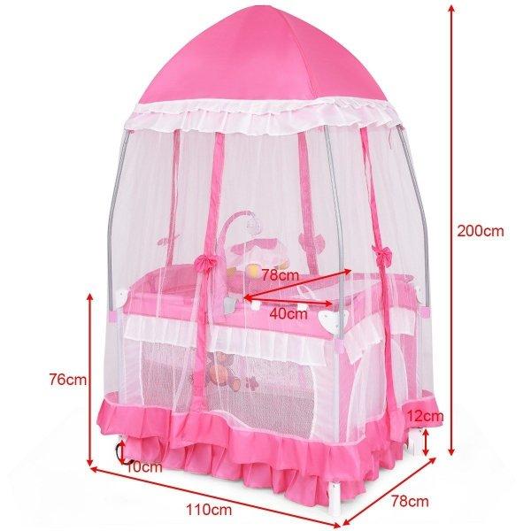 Łóżeczko turystyczne kojec dla dzieci z moskitierą