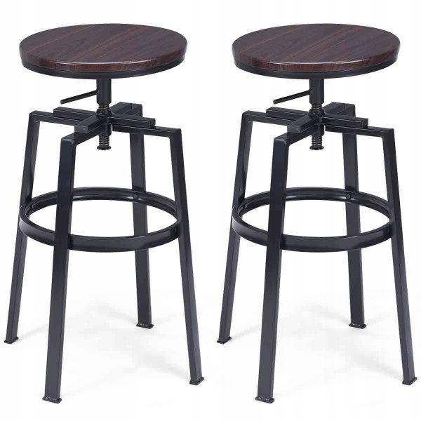 Hoker stołek barowy regulowany obrotowy 2 szt.