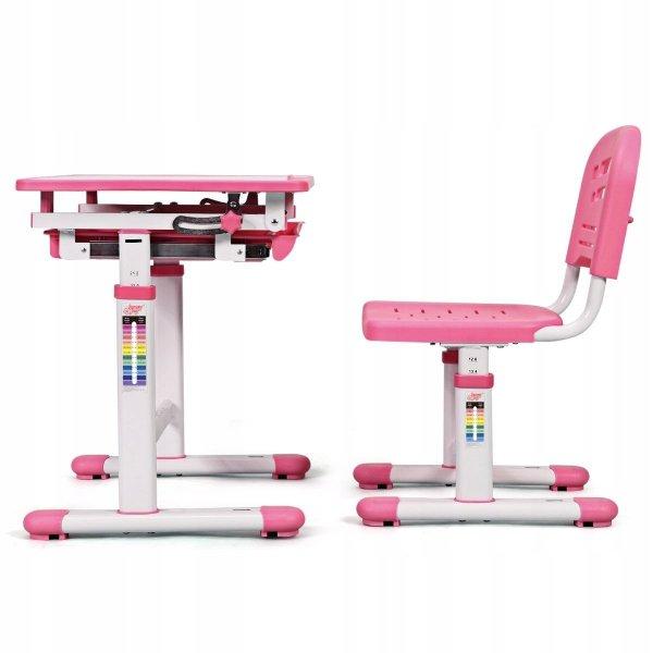 Stół kreślarski biurko szkolne z krzesłem dla dziecka pink