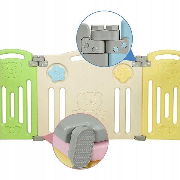 Kojec modułowy dla dzieci z bramką bezpieczeństwa